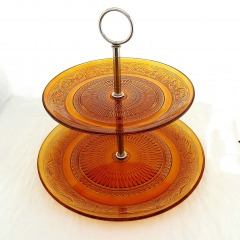 Wholesale Round 2 Layer Glass Cake Stand With Stainless Steel Pole Frame