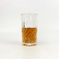 Modern Style Clear Embossed Glass Drinkware For Whisky
