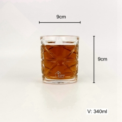 340ML Embossed Glass Drinkware Modern Glass Wine Tumbler Whisky Glass for Bar and Home Party