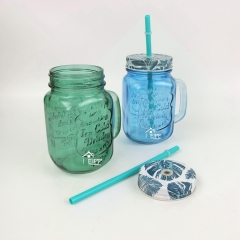 450ml Colored Glass Mason Jar With Handle And Straw Jar Mason Glass