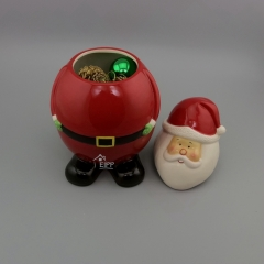 Wholesale Home Storage Hand Painted Ceramic Santa Claus Cookie Jar Set