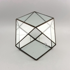 Wholesale Container Large Geometric Glass Terrarium Black Silver Gold Multifarious Color to Choose