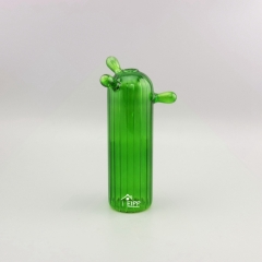 Blown Cylindrical Glass Ornaments Green Cactus Vertical Line Glass Modern Desk Ornament For Mini Garden Ornaments