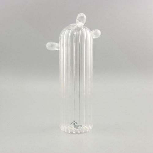 Clear Cactus vertical line Modern Home Decor Glass Ornament For Mini Garden Ornaments
